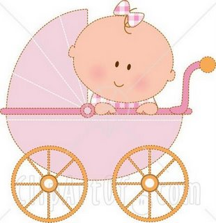 17109-Caucasian-Baby-Girl-In-A-Pink-Stroller-Carriage-Looking-Over-The-Side-Clipart-Illustration